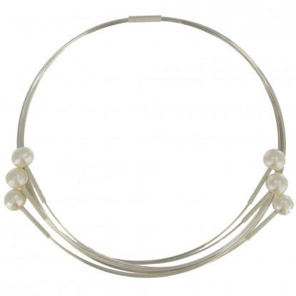 Collier Ras de Cou Fils d'Argent et 6 Perles Blanches
