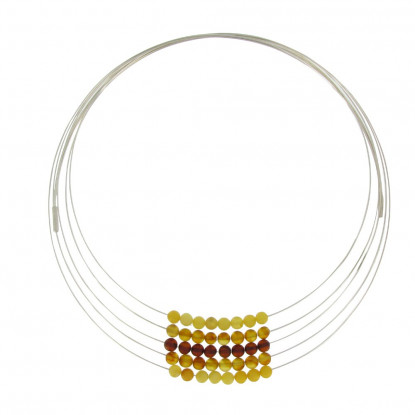 Collier Multi-fils Argent et 40 Perles d'Ambre Jaune