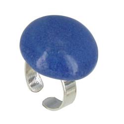 Bague Métal Argenté Champignon Céramique Bleue
