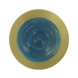 Broche Disque en Laiton Pâte de Verre Bleu Mer