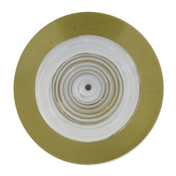 Broche Disque en Laiton Pâte de Verre Blanc