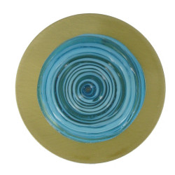 Broche Disque en Laiton Pâte de Verre Turquoise
