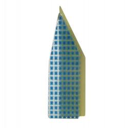 Broche New York Laiton et Pâte de Verre Bleu