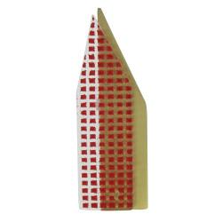 Broche New York Laiton et Pâte de Verre Rouge