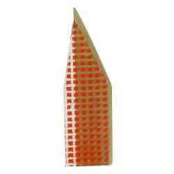 Broche New York Laiton et Pâte de Verre Orange