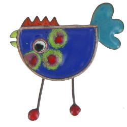 Broche Pin's Poule émaillée Bleue
