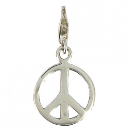 Charms Argent 925 - Moyenne Médaille Paix - Peace and Love