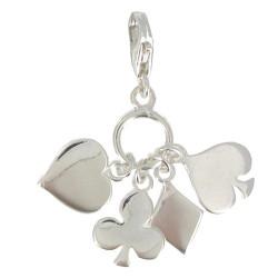 Charms Bracelet Poker - 4 Couleurs- Argent 925