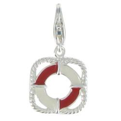 Charms Argent Bouée de Sauvetage - Emaillée Rouge et Blanc