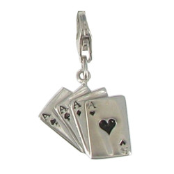Charms Argent Cartes 4 As