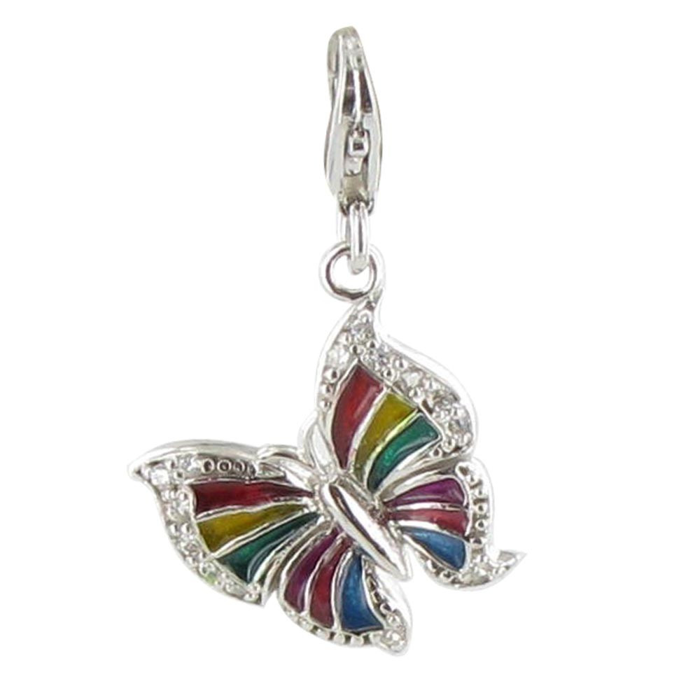 Charms argent papillon arc en ciel - Bracelet arc en ciel ...