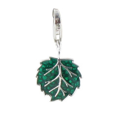 Charms Argent Feuille Verte