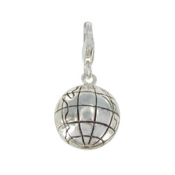 Charms Argent 925 Globe Terrestre