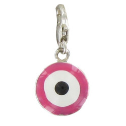 Charms Argent 925 Cible Emaillée Rose