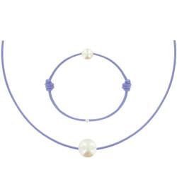 Set Collier et Bracelet Lien La Perle Blanche des Poulettes Lien Lilas