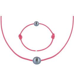 Set Colliers et Bracelets Lien La Perle Noire des Poulettes Fuchsia