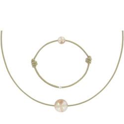 Set Collier Bracelet Lien La Perle Rose des Poulettes Lien Beige
