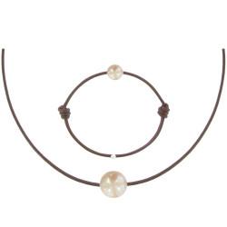 Set Collier et Bracelet Lien La Perle Rose des Poulettes Lien Chocolat