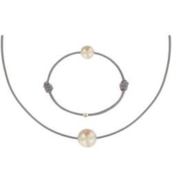 Set Collier et Bracelet Lien La Perle Rose des Poulettes Lien Gris