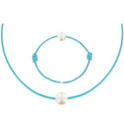 Set Collier Bracelet Lien Perle Blanche des Poulettes Turquoise