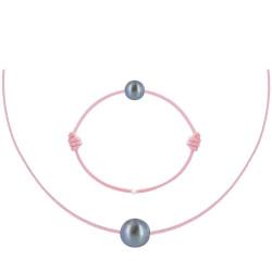 Set Collier et Bracelet Lien La Perle Noire des Poulettes Lien Rose