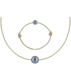 Set Collier et Bracelet Lien La Perle Noire des Poulettes Lien Beige