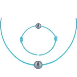 Set Collier Bracelet Lien Perle Noire des Poulettes Turquoise