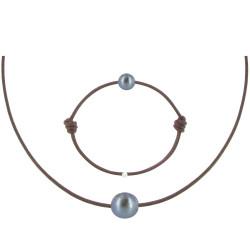 Set Collier Bracelet Lien Perle Noire des Poulettes Lien Chocolat