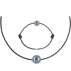 Set Collier Bracelet Lien Perle Noire des Poulettes Lien Noir