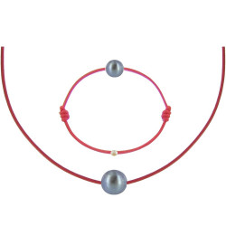 Set Collier Bracelet Lien Perle Noire des Poulettes Lien Rouge