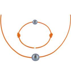 Set Collier Bracelet Lien Perle Noire des Poulettes Lien Orange