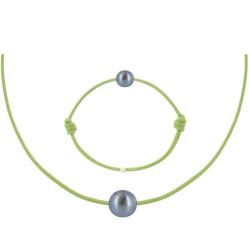 Set Collier Bracelet Lien Perle Noire des Poulettes Lien Vert