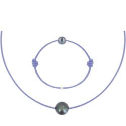Set Collier Bracelet Lien Perle Noire des Poulettes Lien Lilas