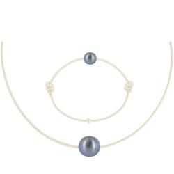 Set Collier Bracelet Lien Perle Noire des Poulettes Lien Beige Clair
