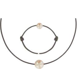 Set Collier Bracelet Lien Perle des Poulettes Rose Lien Marron Foncé