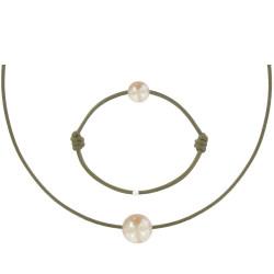 Set Collier Bracelet Lien Perle des Poulettes Rose Lien Kaki