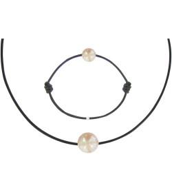 Set Colliers Bracelet Lien Perle des Poulettes Rose Lien Noir