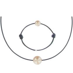 Set Collier Bracelet Lien Perle des Poulettes Rose Lien Bleu Navy