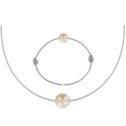 Set Collier Bracelet Lien Perle des Poulettes Rose Lien Gris Clair