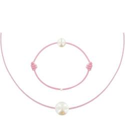 Set Collier Bracelet Lien La Perle Blanche des Poulettes Lien Rose