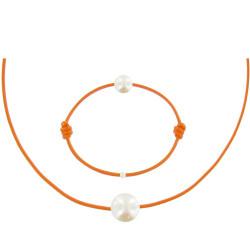Set Collier Bracelet Lien La Perle Blanche des Poulettes Lien Orange