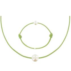 Set Collier Bracelet Lien La Perle Blanche des Poulettes Lien Vert