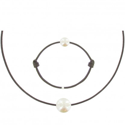 Set Collier et Bracelet Lien La Perle Blanche des Poulettes - Classics