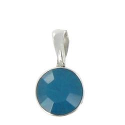 Pendentif Argent Demi Boule de Swarovski Turquoise