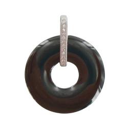 Pendentif Argent Rhodié Disque Céramique Noire