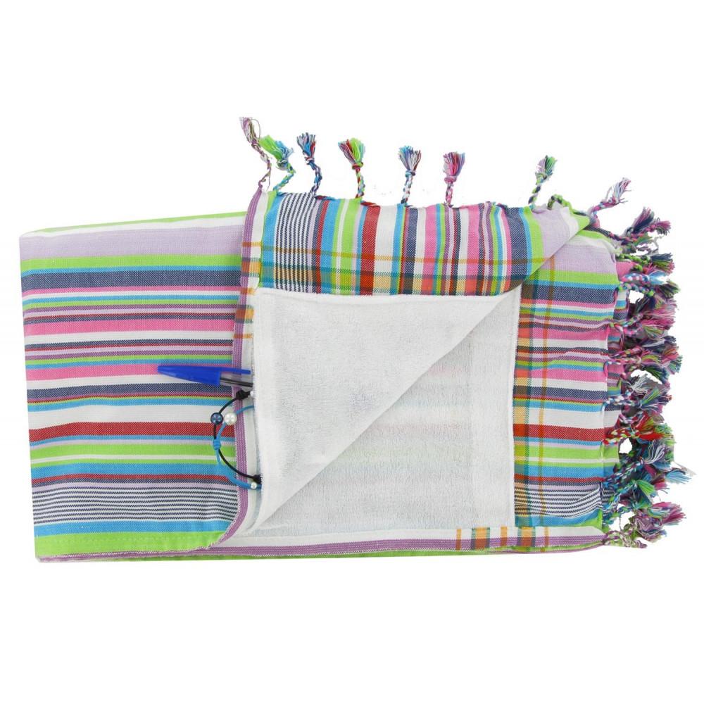 kikoy serviette plage coton eponge couleur ray blanc. Black Bedroom Furniture Sets. Home Design Ideas