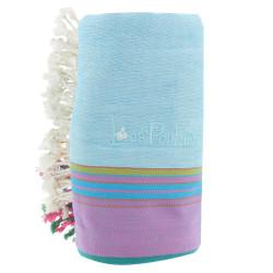 Kikoy Serviette Plage Coton Eponge Couleur Bleu Ciel