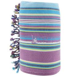 Kikoy Serviette Plage Coton Eponge Couleur Rayé Violet Turquoise