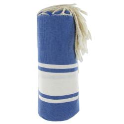 Fouta Drap Plage et Hammam Coton Couleur Bleu 100 x 200cm