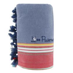 Kikoy Serviette Plage Coton Couleur Bleu Jean